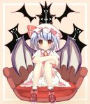 blue_hair hat red_eyes remilia_scarlet short_hair touhou tsunono wings