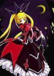 blazblue blonde_hair dress frills gii gothic_lolita hair_ribbon lolita_fashion long_hair rachel_alucard red_eyes ribbon toyo_(pixiv870589) twintails