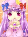 doughnut eating hat ice_9_kingdom long_hair patchouli_knowledge purple_eyes purple_hair solo touhou violet_eyes