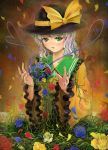 flower green_eyes hat heart heart_of_string komeiji_koishi petals rose sai-go short_hair silver_hair touhou vines