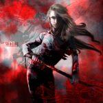 androgynous blonde_hair blood glasses hellsing integra_hellsing long_hair reverse_trap solid&etc solo sword
