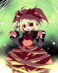 blonde_hair kurodani_yamame nisu ponytail ribbon short_hair spider_web touhou yellow_eyes