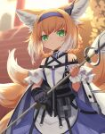 1girl absurdres animal_ears arknights bare_shoulders blonde_hair blurry blurry_background closed_mouth depth_of_field dot_mouth dot_nose dress fox_ears fox_tail gloves green_eyes grey_gloves hairband highres holding holding_staff klaius looking_at_viewer medium_hair multicolored_hair multiple_tails purple_dress single_glove solo staff stairs suzuran_(arknights) tail torii two-tone_hair white_hair