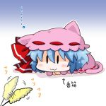 1girl :3 blue_hair bow chibi closed_mouth commentary_request hair_bow noai_nioshi puffy_sleeves red_bow remilia_scarlet short_hair touhou |_|
