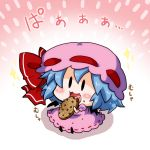1girl :3 bat_wings blue_hair bow chibi commentary_request cookie detached_wings fang food hair_between_eyes hair_bow mob_cap noai_nioshi open_mouth puffy_sleeves red_bow remilia_scarlet short_hair short_sleeves solo sparkle touhou wings |_|