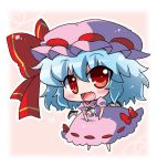 1girl bat_wings blue_hair bow chibi commentary_request detached_sleeves fang hair_between_eyes hair_bow mob_cap noai_nioshi open_mouth puffy_sleeves red_bow remilia_scarlet short_hair short_sleeves solo touhou wings