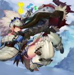 1girl armor barioth_(armor) belt blue_gloves blush boots fangzhenyu fur_trim gloves hunting_horn looking_at_viewer monster_hunter monster_hunter_big_game_hunting_quest musical_note official_art panties playing_instrument red_eyes snow solo spikes tree underwear weapon white_hair white_panties