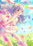 1girl :q animal_ears bangs blunt_bangs bouquet bow confetti easter easter_egg flower green_eyes hair_bow hair_flower hair_ornament hina_(milk_ti_leaf) holding holding_flower kneehighs layered_dress long_hair original purple_hair rabbit_ears single_kneehigh solo thigh_strap tongue tongue_out winged_shoes