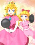 2girls blonde_hair blue_eyes bow company_connection crossover crown dress earrings elbow_gloves freckles frying_pan gloves hair_bow jewelry lips lipstick long_hair looking_at_another mother_(game) mother_2 multiple_girls nintendo paula_polestar pink_dress princess_peach puffy_sleeves super_mario_bros. trait_connection weapon white_gloves