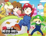 1girl 4boys ;d black_eyes blonde_hair bowser_jr. bracelet brown_hair clenched_hands clouds doubutsu_no_mori elbow_gloves eyebrows gloves goggles hat horns jewelry kirby kirby_(series) koopa_clown_car lakitu link long_hair luigi luigi_(cosplay) mario mario_(cosplay) monster_boy mother_(game) mother_2 multiple_boys mushroom myuu1995 ness nintendo one_eye_closed open_mouth overalls parody payot pointy_ears princess_peach princess_peach_(cosplay) puffy_sleeves raised_fist redhead short_hair smile solid_oval_eyes super_mario_bros. super_mushroom super_smash_bros. the_legend_of_zelda toon_link villager_(doubutsu_no_mori) white_gloves wind_waker