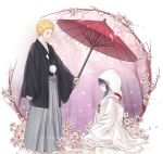 1boy 1girl black_hair blonde_hair highres hyuuga_hinata japanese_clothes kimono naruto oriental_umbrella plum_blossoms short_hair stone11211 uchikake umbrella uzumaki_naruto