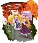 2girls akuto ankle_ribbon autumn_leaves blonde_hair bottle choko_(cup) dress elbow_gloves fox_tail frilled_dress frilled_gloves frills gap gloves hat hat_with_ears inari leaf long_hair long_sleeves looking_at_viewer low-tied_long_hair maple_leaf multiple_girls multiple_tails multiple_torii open_mouth pantyhose parasol puffy_short_sleeves puffy_sleeves purple_dress ribbon sake_bottle short_hair short_sleeves simple_background sitting smile stairway stone_lantern tabard tail tassel torii touhou tree umbrella very_long_hair violet_eyes white_background white_dress white_legwear yakumo_ran yakumo_yukari yellow_eyes