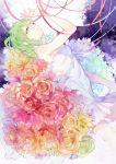 1girl dress flower green_eyes green_hair gumi p0ckylo ribbon rose sleeveless sleeveless_dress tears vocaloid white_dress