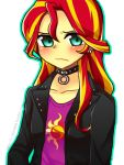 00riko 1girl choker flat_chest green_eyes highres leather_jacket multicolored_hair my_little_pony my_little_pony_friendship_is_magic personification simple_background sunset_shimmer two-tone_hair