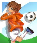 1boy absurdres blue_eyes brown_hair from_behind highres hoodie inazuma_eleven_(series) inazuma_eleven_go looking_back matsukaze_tenma short_hair shorts smile solo telstar
