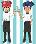 2boys apron bowtie brown_hair glass glasses goggles goggles_on_head hamano_kaiji hayami_tsurumasa inazuma_eleven_(series) inazuma_eleven_go multiple_boys open_mouth short_hair short_twintails smile tray twintails waist_apron waiter