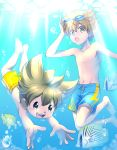 2boys absurdres brown_hair fish goggles highres inazuma_eleven_(series) inazuma_eleven_go male_focus matsukaze_tenma multiple_boys navel nishizono_shinsuke no_nipples open_mouth short_hair swim_trunks swimming underwater