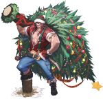 1boy absurdres alternate_costume artist_request axe bauble beanie beard belt boots brown_eyes brown_hair candy candy_cane chaos_heroes_online christmas christmas_ornaments christmas_tree christmas_wreath facial_hair fingerless_gloves gloves hat highres holly kunkka_(chaos_online) long_hair looking_at_viewer lumberjack male_focus muscle official_art open_mouth red_gloves red_nose reindeer simple_background single_glove solo star suspenders tattoo transparent_background tree_stump weapon