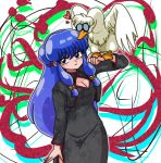 1girl bird bird_on_hand china_dress chinese_clothes duck glasses hair_ornament long_hair mousse mousse_(duck) official_style purple_hair ranma_1/2 shampoo_(ranma_1/2) tagme violet_eyes wantan-orz