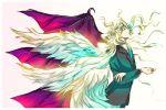 1boy absurdres angel_wings artist_request blonde_hair demon_wings highres lucifer_(shin_megami_tensei) shin_megami_tensei tagme wings