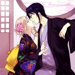 1boy 1girl almost_kiss awashima_seri black_hair blonde_hair flower hair_flower hair_ornament hand_on_another's_face japanese_clothes k_(anime) kimono looking_at_another munakata_reishi short_hair side_view smile violet_eyes yasai_(getsu)