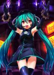 1girl aqua_hair bare_shoulders black_dress black_gloves black_hair black_legwear dress elbow_gloves flame gears gloves hat hatsune_miku headset highres machinery magu_(mugsfc) open_mouth panties pantyshot pantyshot_(standing) project_diva project_diva_f red_eyes revision sadistic_music_factory_(vocaloid) sleeveless sleeveless_dress smile solo standing tattoo thighhighs twintails underwear vocaloid