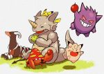 anger_vein apple clefairy food fruit gengar houndoom no_humans open_mouth original parasect pikachu pokemon pokemon_(creature) pokemon_(game) rhydon simple_background yeyong
