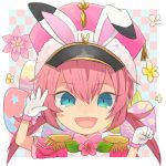 1boy animal_ears blue_eyes easter easter_egg epaulettes face flower gloves hat inazuma_eleven_(series) inazuma_eleven_go kirino_ranmaru looking_at_viewer male_focus open_mouth rabbit_ears shirota69 solo star white_gloves
