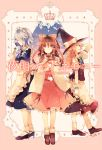 3girls apron blonde_hair bow braid brown_hair closed_eyes crown detached_sleeves flower frills full_body hair_bow hair_ornament hair_tubes hakurei_reimu hat hat_bow high_heels izayoi_sakuya japanese_clothes kirero kirisame_marisa long_hair long_sleeves looking_at_viewer maid_headdress miko multiple_girls open_mouth profile puffy_sleeves red_eyes shirt shoes short_hair short_sleeves side_braid silver_hair single_braid skirt skirt_set smelling smile socks star tears text touhou twin_braids vest waist_apron white_legwear wide_sleeves witch_hat