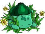 bulbasaur closed_eyes flower jessica_chen_pei_ling no_humans pokemon pokemon_(creature) simple_background sleeping solo white_background