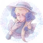1girl blue_rose dress fate/zero fate_(series) flower genderswap gloves hair_flower hair_ornament hat kayneth_archibald_el-melloi long_hair panpanmaru rose solo