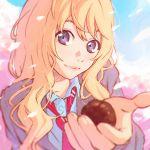 1girl blonde_hair blue_eyes food ilya_kuvshinov light_smile long_hair looking_at_viewer miyazono_kawori necktie pastry school_uniform shigatsu_wa_kimi_no_uso solo tree