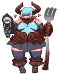 1boy 1girl aqua_hair bangs black_legwear blunt_bangs brown_gloves character_request cow_horns demon_girl detached_sleeves faulds fork giantess gloves hair_over_eyes heart hooves horns lifting_person matsuda_yuusuke payot plump pointy_ears short_hair size_difference skirt thick_thighs thigh-highs thighs yuusha_masatoshi yuusha_to_maou zettai_ryouiki