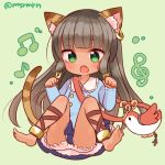 1girl :o animal_ears ankh anklet bastet_(p&d) bird black_hair bloomers blush cat_ears cat_tail dark_skin earrings fang green_background green_eyes hair_tubes hoop_earrings horus_(p&d) jewelry long_hair marshmallow_mille open_mouth puzzle_&_dragons simple_background single_earring skirt solo tail twitter_username underwear