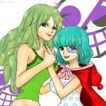2girls blue_eyes blue_hair breasts clothes_writing donquixote_family dress green_hair highres holding_hands long_hair looking_at_viewer monet_(one_piece) monocle multiple_girls older one_piece open_mouth polka_dot polka_dot_dress short_hair siblings sisters smile sugar_(one_piece) yellow_eyes