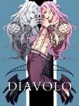 2boys diavolo dual_persona jojo_no_kimyou_na_bouken long_hair multiple_boys pink_hair togeru