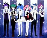 4boys black_hair blonde_hair blue_hair bouquet bow dress flower formal frills green_hair hair_bow hiiragi_yuzu multicolored_hair multiple_boys necktie pink_hair ponytail purple_hair redhead sakaki_yuuya serena_(yuu-gi-ou_arc-v) shiunga315 short_twintails smile twintails two-tone_hair vest yugo_(yuu-gi-ou_arc-v) yuri_(yuu-gi-ou_arc-v) yuto_(yuu-gi-ou_arc-v) yuu-gi-ou yuu-gi-ou_arc-v