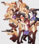 2girls 6+boys angel_beats! battle_axe fujimaki_(angel_beats!) gun highres hinata_(angel_beats!) kizami_(hetaisi) matsushita multiple_boys multiple_girls muscle noda_(angel_beats!) ooyama_(angel_beats!) otonashi_(angel_beats!) polearm rifle scarf school_uniform serafuku shiina_(angel_beats!) short_hair takamatsu tk_(angel_beats!) weapon yuri_(angel_beats!)