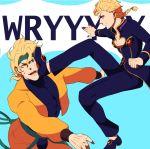 blonde_hair blue_eyes braid dio_brando fangs father_and_son giorno_giovanna headband jojo_no_kimyou_na_bouken kicking ladybug red_eyes takanashi_hinami wryyyyyyyyyyyyyyyyyyyy