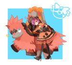 1girl alternate_costume black_gloves black_legwear black_rose camerupt dress flower gloves hat high_heels huan_li kagari_(pokemon) kagari_(pokemon)_(remake) mega_camerupt mega_pokemon orange_dress pokemon pokemon_(creature) pokemon_(game) pokemon_oras purple_hair rose team_magma violet_eyes