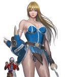 armlet armor bare_shoulders blue_eyes cowboy_shot daisy_(dq) dragon_quest_yuusha_abel_densetsu gloves helmet horned_helmet long_hair nanba_(tanishi) realistic redhead sword turban weapon