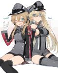 2girls anchor_hair_ornament back-to-back bare_shoulders bespectacled bismarck_(kantai_collection) blonde_hair blue_eyes breasts brown_gloves detached_sleeves german glasses gloves hair_ornament hat hayashi_kewi kantai_collection long_hair military military_uniform multiple_girls one_eye_closed open_mouth peaked_cap prinz_eugen_(kantai_collection) sitting smile thigh-highs twintails uniform vulcan_salute white_gloves