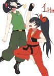 2girls black_hair character_request combat_boots combo_counter cosplay dougi flat_chest ganaha_hibiki guile guile_(cosplay) idolmaster ken_masters ken_masters_(cosplay) long_hair military multiple_girls naginoya ponytail punching short_twintails shouryuuken street_fighter tank_top twintails uppercut