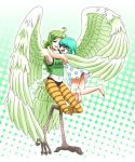 2girls barefoot blue_hair breasts closed_eyes clothes_writing donquixote_family dress feathered_wings feathers glomp green_hair happy harpy hug long_hair monet_(one_piece) monocle monster_girl multiple_girls one_piece open_mouth polka_dot polka_dot_dress short_hair siblings sisters smile striped sugar_(one_piece) talons tank_top wings