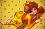 1girl absurdres ass barefoot blue_eyes breasts brown_hair casual cleavage crown downblouse earrings feet highres huge_ass huge_filesize jewelry long_hair lying mario_(series) nintendo on_stomach pantylines polka_dot polka_dot_background princess_daisy robert_porter signature soles solo super_mario_bros. toes wide_hips