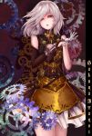 1girl adjusting_clothes adjusting_gloves alternate_costume braid bridal_gauntlets brown_dress character_name colored_eyelashes dress expressionless eyebrows eyelashes gears gloves highres izayoi_sakuya kisaragiiko lips long_arms looking_at_viewer parted_lips red_eyes reversed silver_hair single_gauntlet single_glove small_breasts solo steampunk steampunk_(liarsoft) tagme touhou twin_braids white_gloves wind zoom_layer