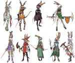 archer bunnygirl claws dark_skin ffta final_fantasy_tactics final_fantasy_tactics_advance game gloves heels long_hair pony_tail red_mage skirt sniper summoner sword tanned_skin tattoo twintails usagimimi viera white_hair white_mage