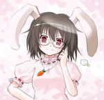 bespectacled black_hair blush brown_hair bunny_ears bunnygirl bust carrot dress game glasses inaba_tewi jewelry kukyo pendant red_eyes short_hair smile touhou usagimimi