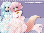 ahoge blue_hair bow collar dress flat_chest inumimi loli long_hair nekomimi panties pink_hair short_hair striped_panties stripes tail thigh_highs wallpaper wanko_to_lily