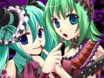 2girls aqua_hair armband blue_eyes choker green_hair guitar gumi hair_ornament hairband hatsune_miku lips mini_top_hat nail_polish necktie open_mouth twintails vocaloid yutu